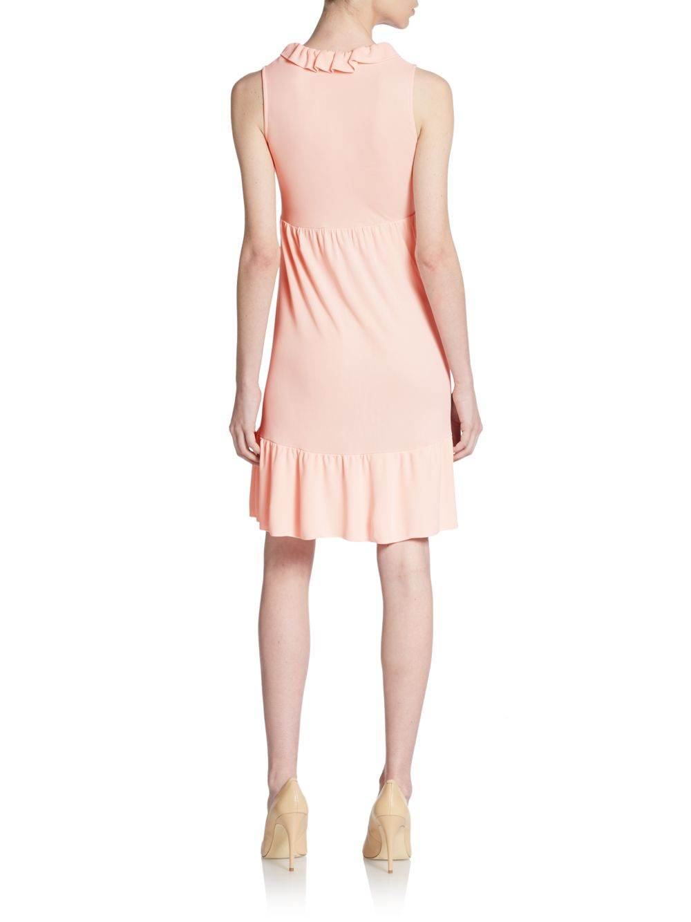 Lyst Red Valentino Pleated Jersey Knit Dress In Orange