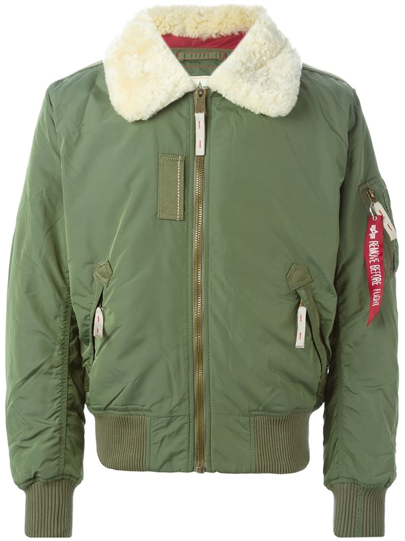 alpha industries shearling collar bomber jacket in green for men lyst. Black Bedroom Furniture Sets. Home Design Ideas