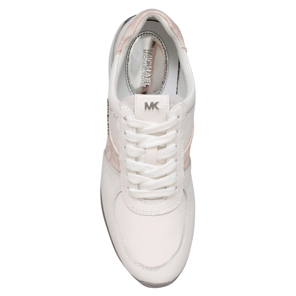 MICHAEL Michael Kors Leather Allie Flat Trainer in Pale Pink (White)