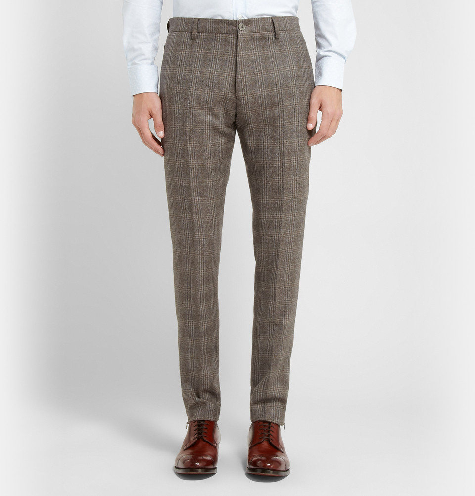 Etro Brown Slim-Fit Checked Silk And Wool-Blend Suit Trousers for Men