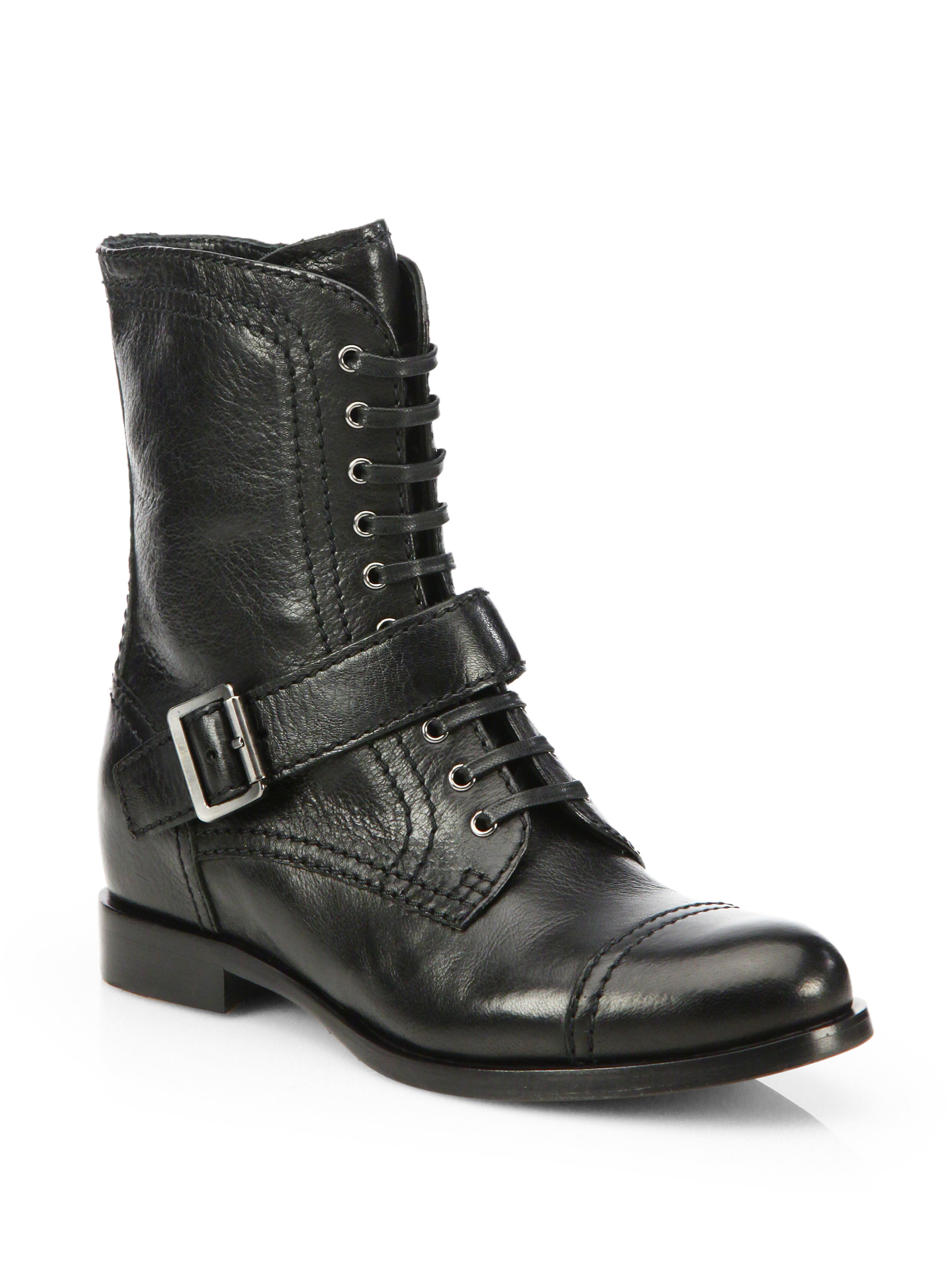 Prada Leather Buckle Midcalf Boots In Black Nero Lyst