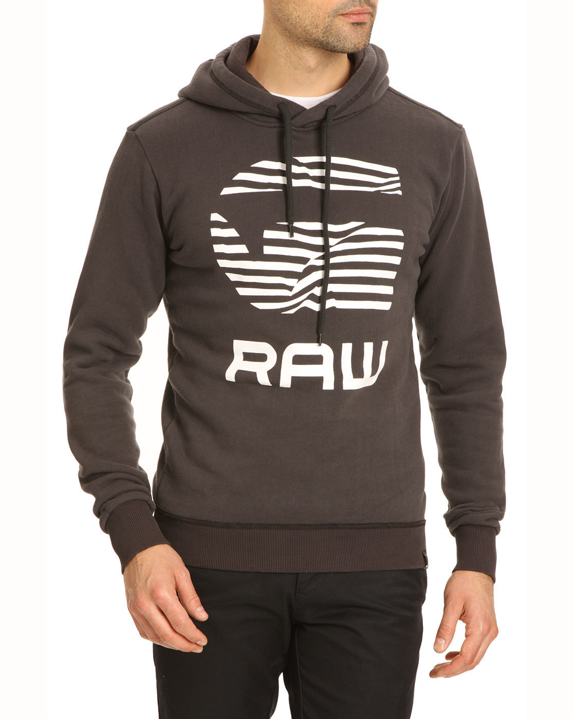 star raw rickner grey logo sweater in gray for men grey lyst. Black Bedroom Furniture Sets. Home Design Ideas