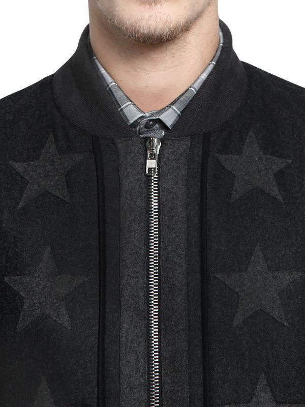 Givenchy Stars Flannel Bomber Jacket in Anthracite (Black) for Men