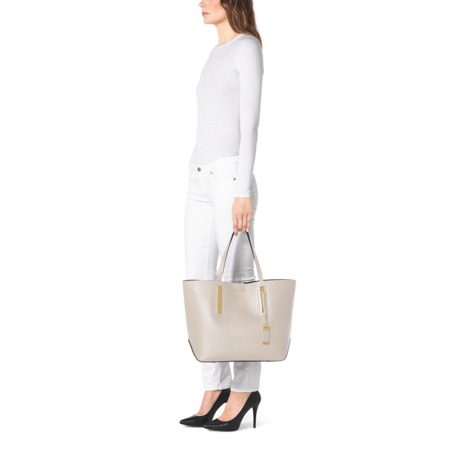fb872f8e3161 Michael Kors Jaryn Calf Leather Tote in Natural - Lyst