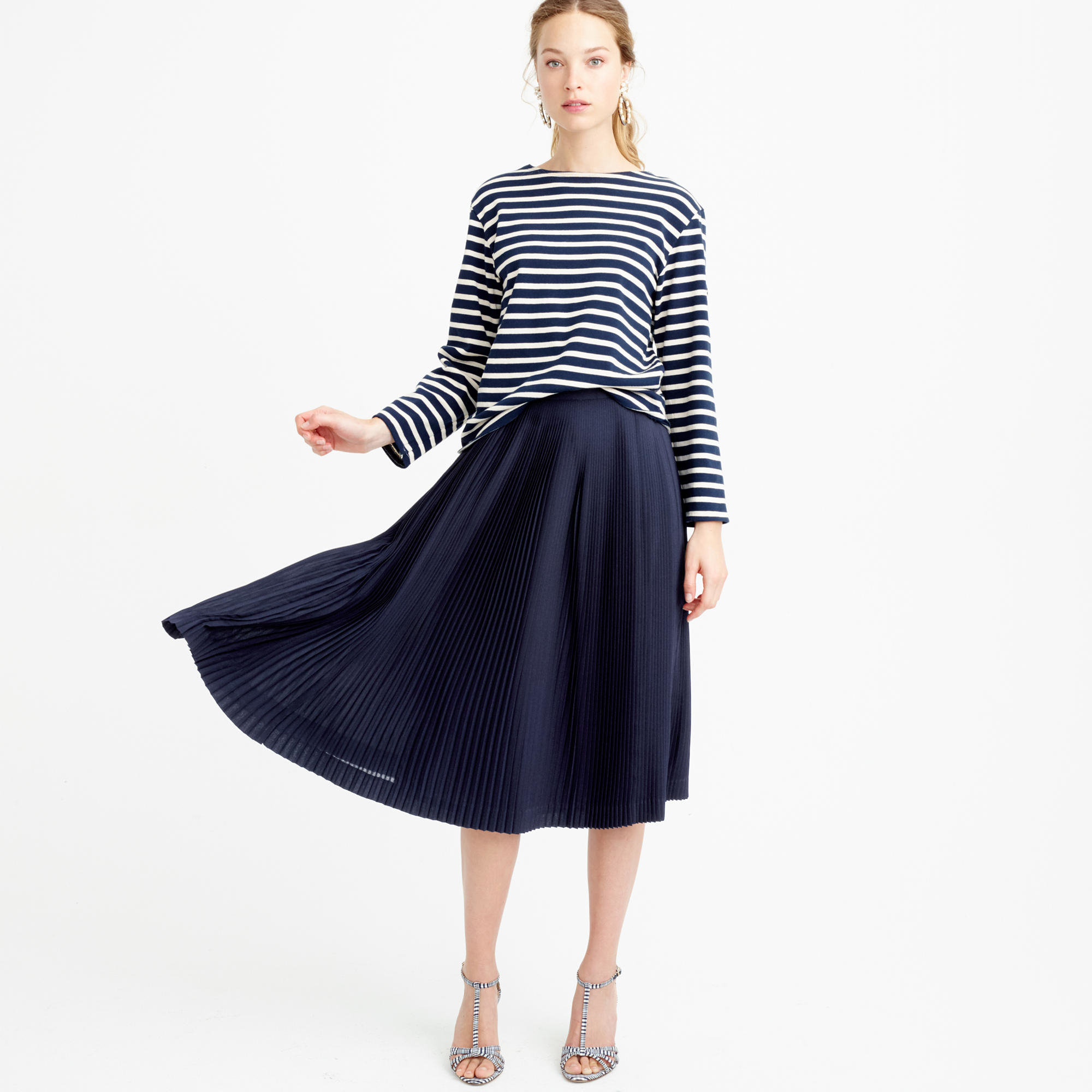 J.crew Petite Micro-pleated Midi Skirt in Blue | Lyst