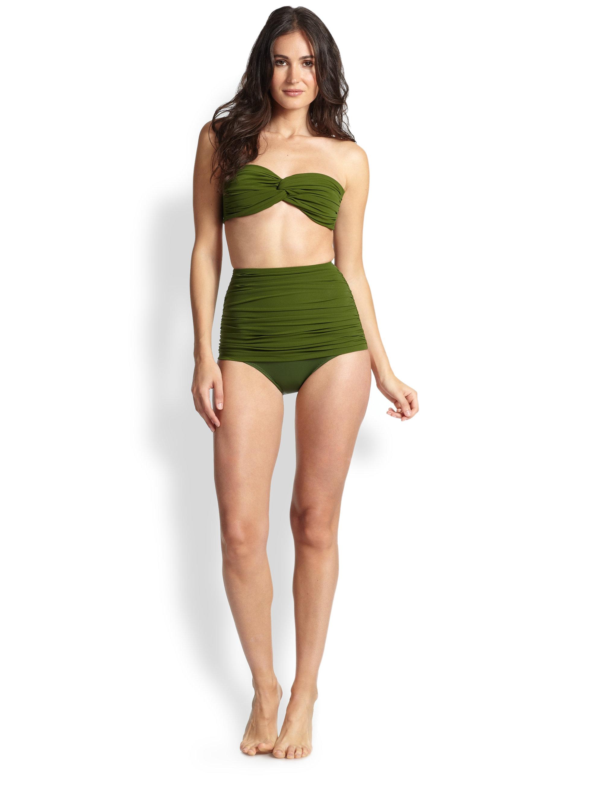 Lyst - Norma Kamali High-Waist Ruched Bikini Bottom in Green a50b4493520a