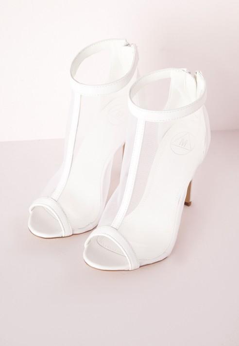 Missguided Mesh Peep Toe Heeled Boots