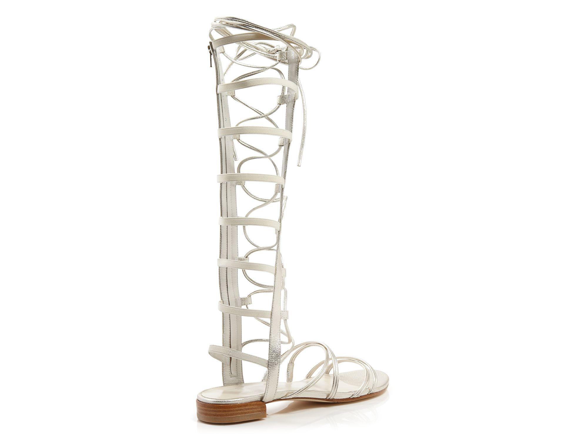stuart weitzman flat gladiator sandals sparta in white