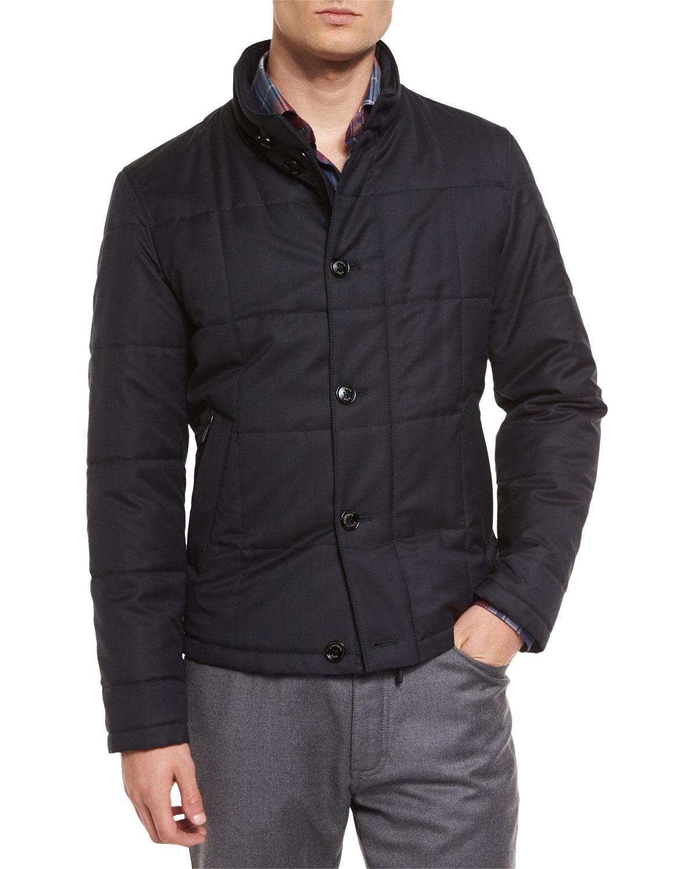 Ermenegildo Zegna Square Quilted Button Down Shirt Jacket