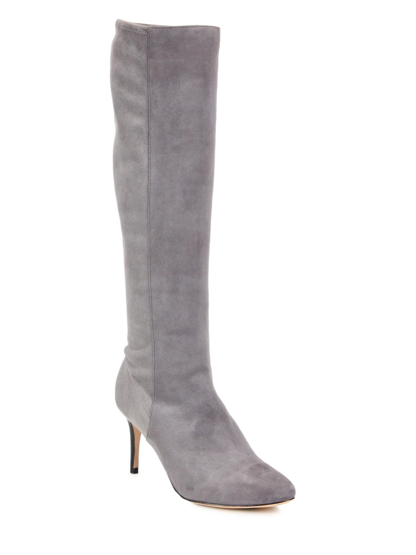 cole haan barnard suede knee high boots in gray lyst