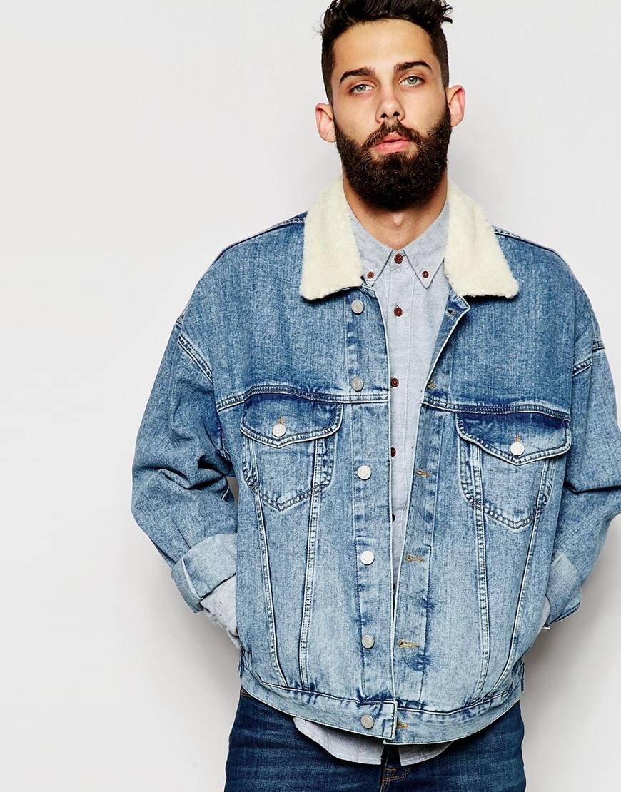 Lyst Asos Oversize Denim Jacket With Borg Collar In Blue