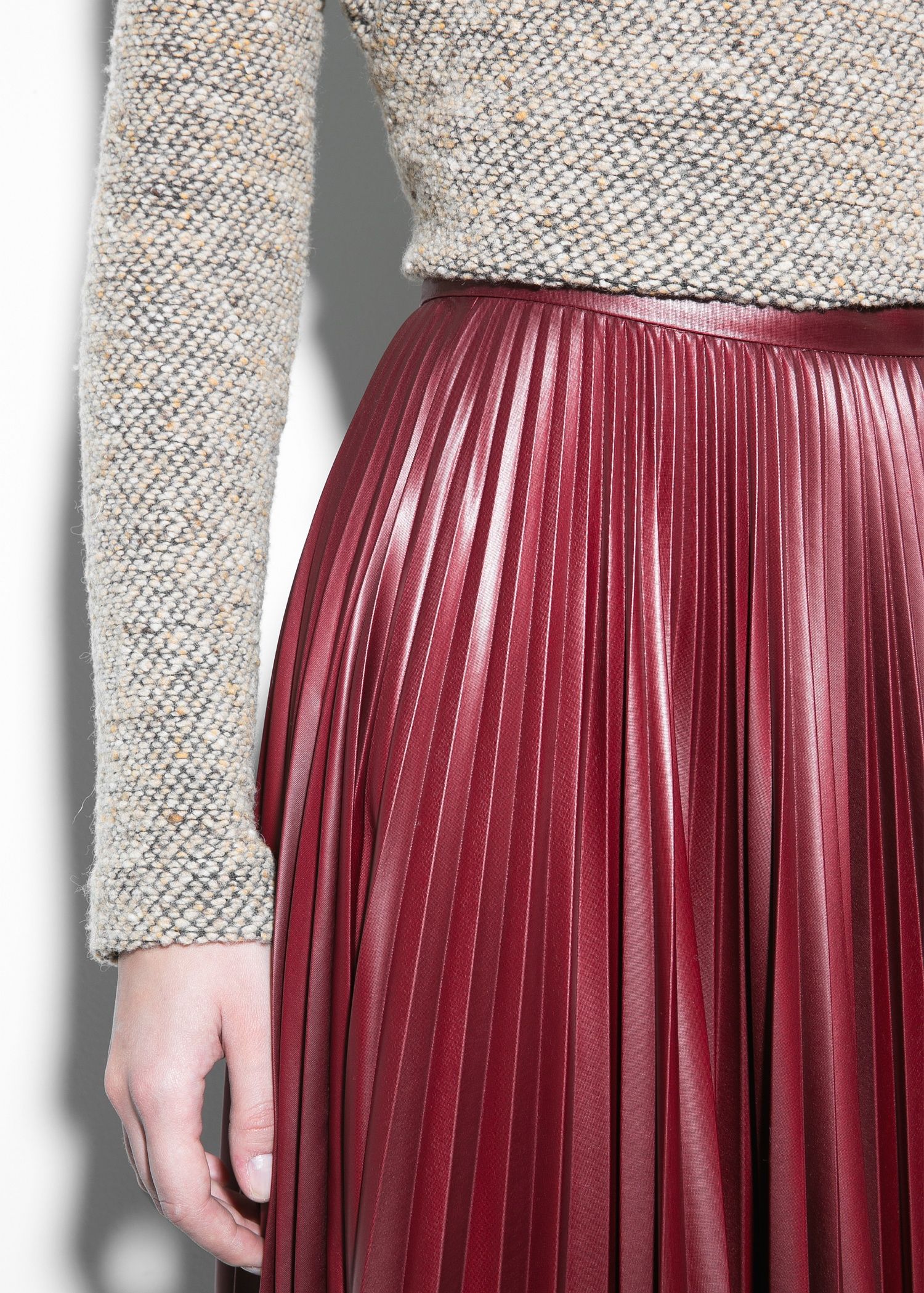 Lyst Mango Pleated Midi Skirt In Red