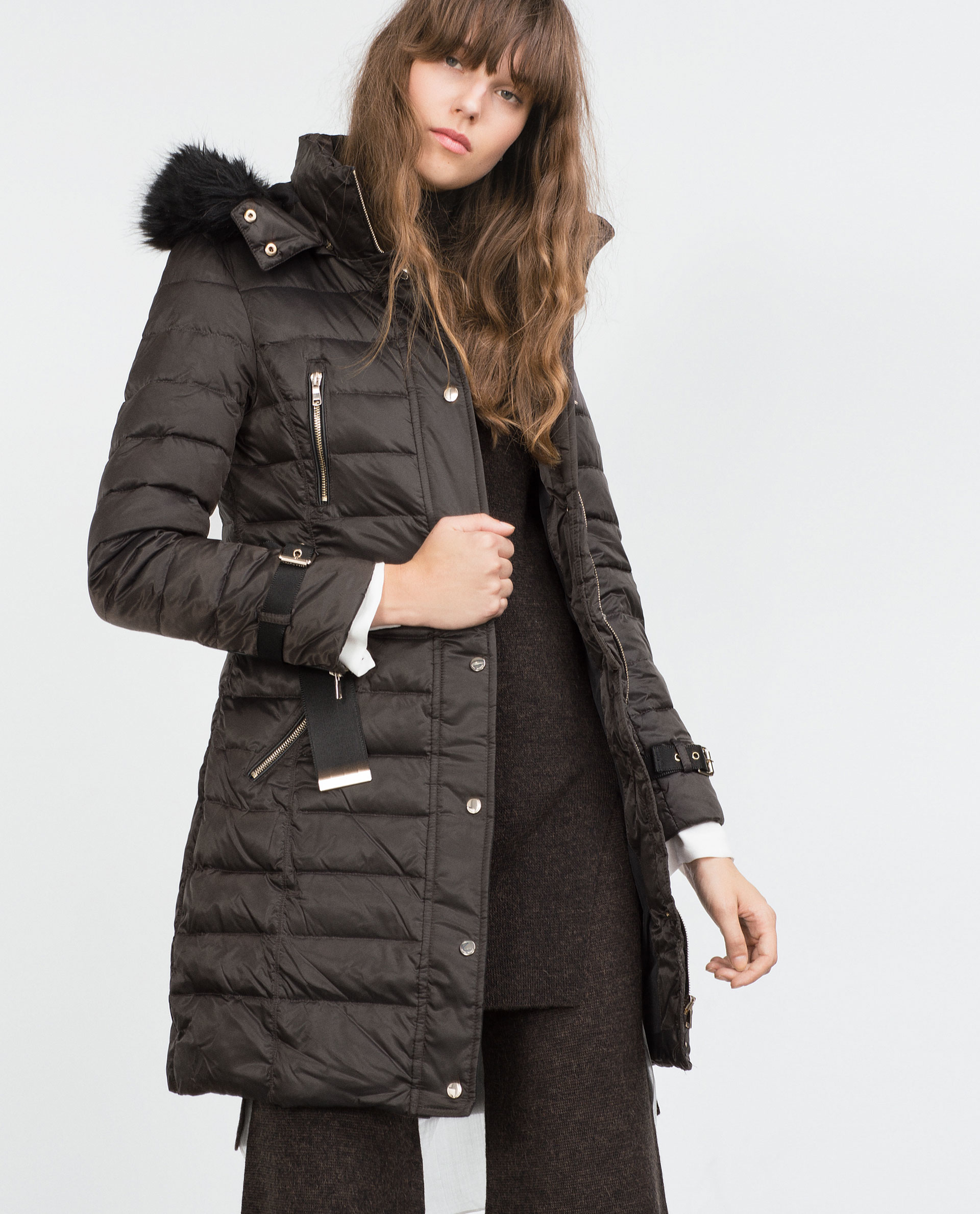 Zara Long Quilted Coat With Detachable Hood In Gray Lyst