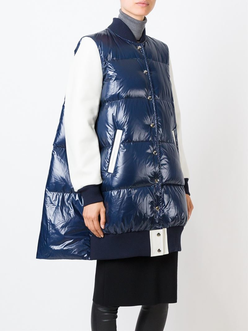Lyst Sacai Luck Quilted Cotton Blend And Down Jacket In Blue