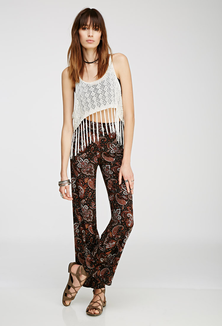 2bf6468dd7f Lyst - Forever 21 Paisley Wide-leg Pants