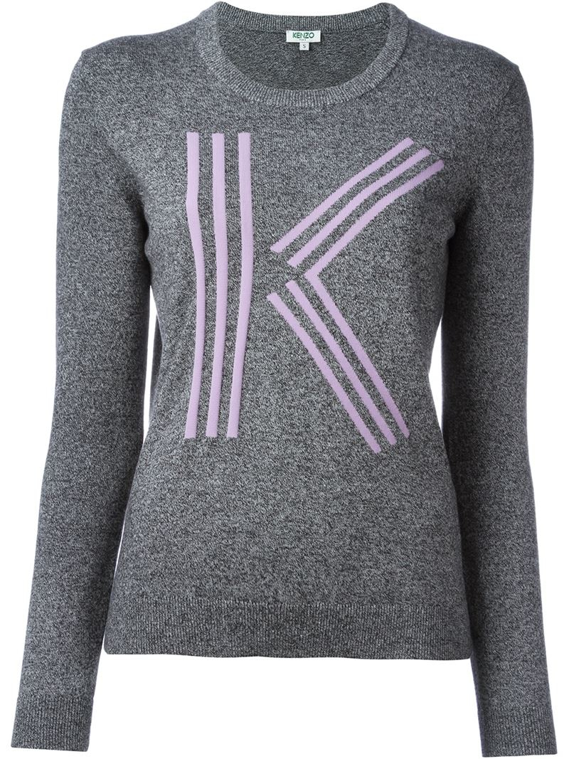 kenzo k intarsia sweater in gray grey lyst. Black Bedroom Furniture Sets. Home Design Ideas