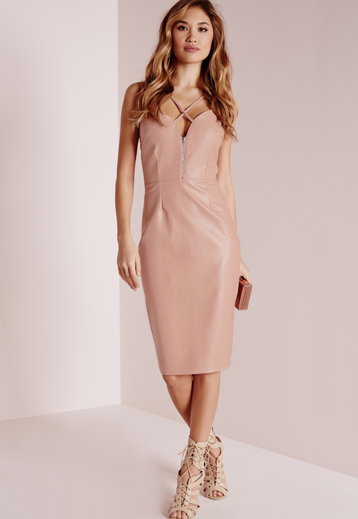 Missguided Faux Leather Cross Strap Midi Dress Rose In