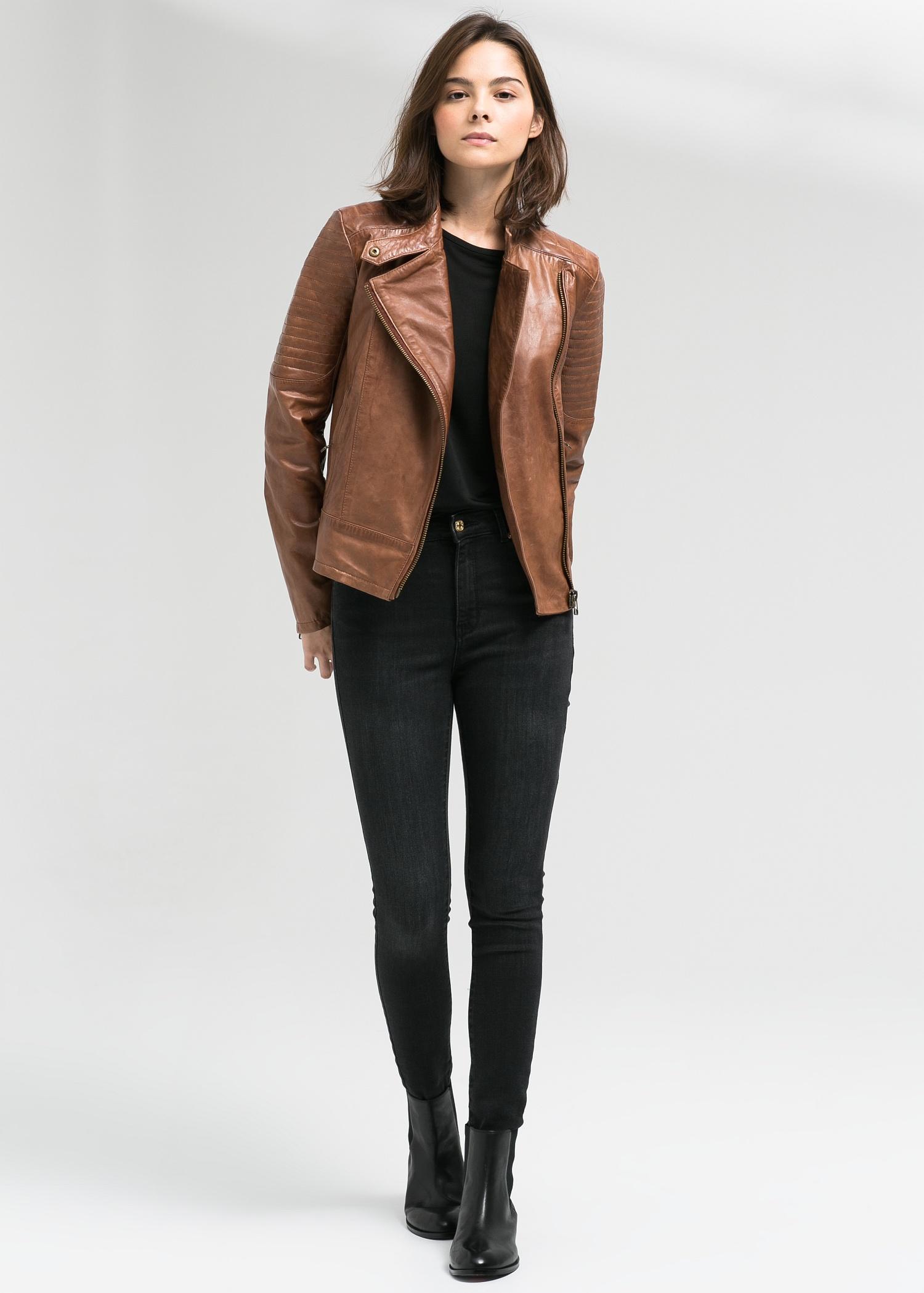 Mango Leather Biker Jacket In Cognac Brown Lyst