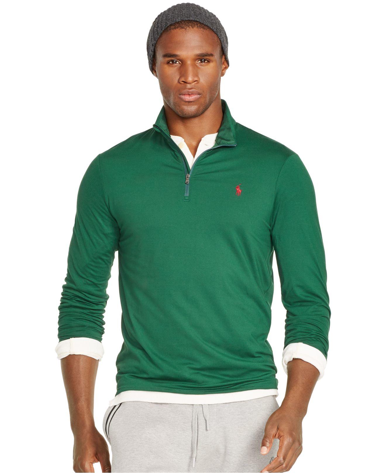 polo ralph lauren jersey mockneck pullover in green for men lyst. Black Bedroom Furniture Sets. Home Design Ideas