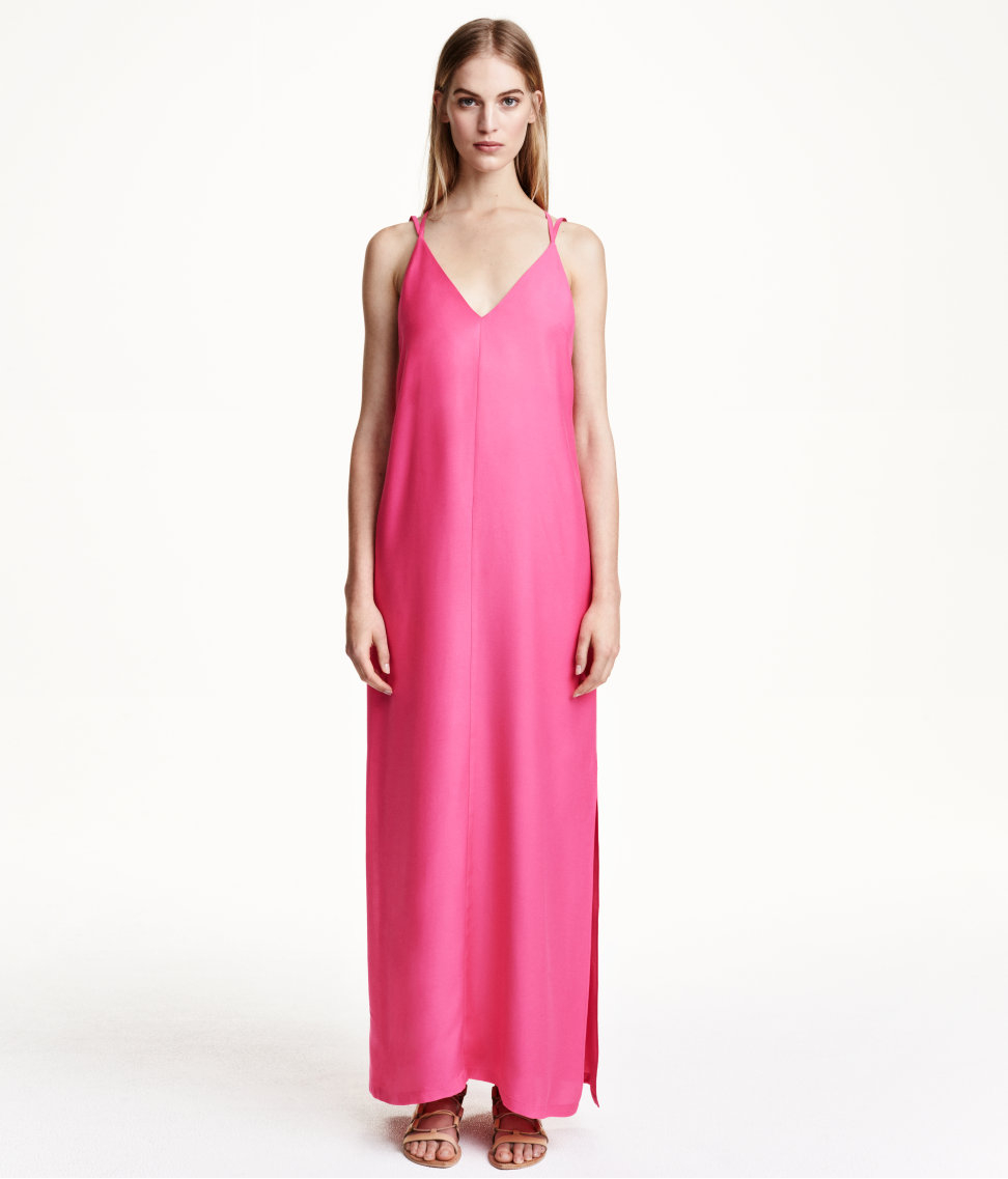 H Amp M Maxi Dress In A Lyocell Blend In Cerise Pink Lyst