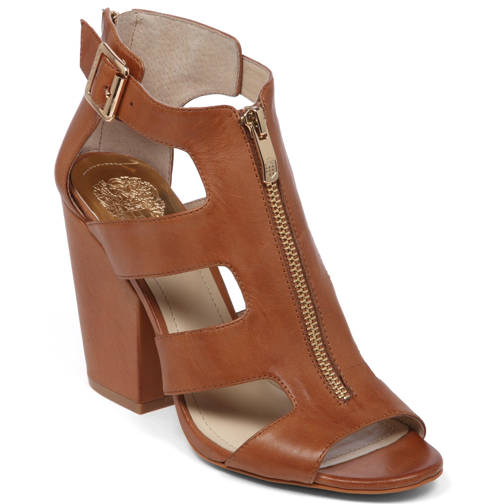 Vince Camuto Marleau Block Heel Sandals In Brown Fudge