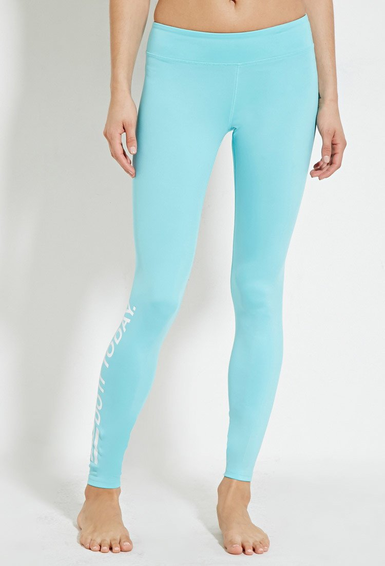Lyst Forever 21 Active Do It Today Leggings In Blue