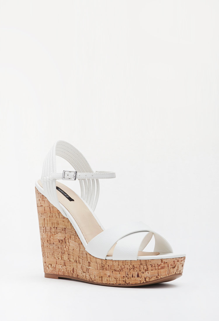 Forever 21 Strappy Cork Wedge Sandals