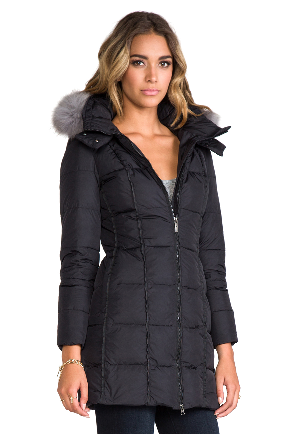 d4e9fcde5abdf Lyst - Add Down Coat with Hood and Fur in Black in Black