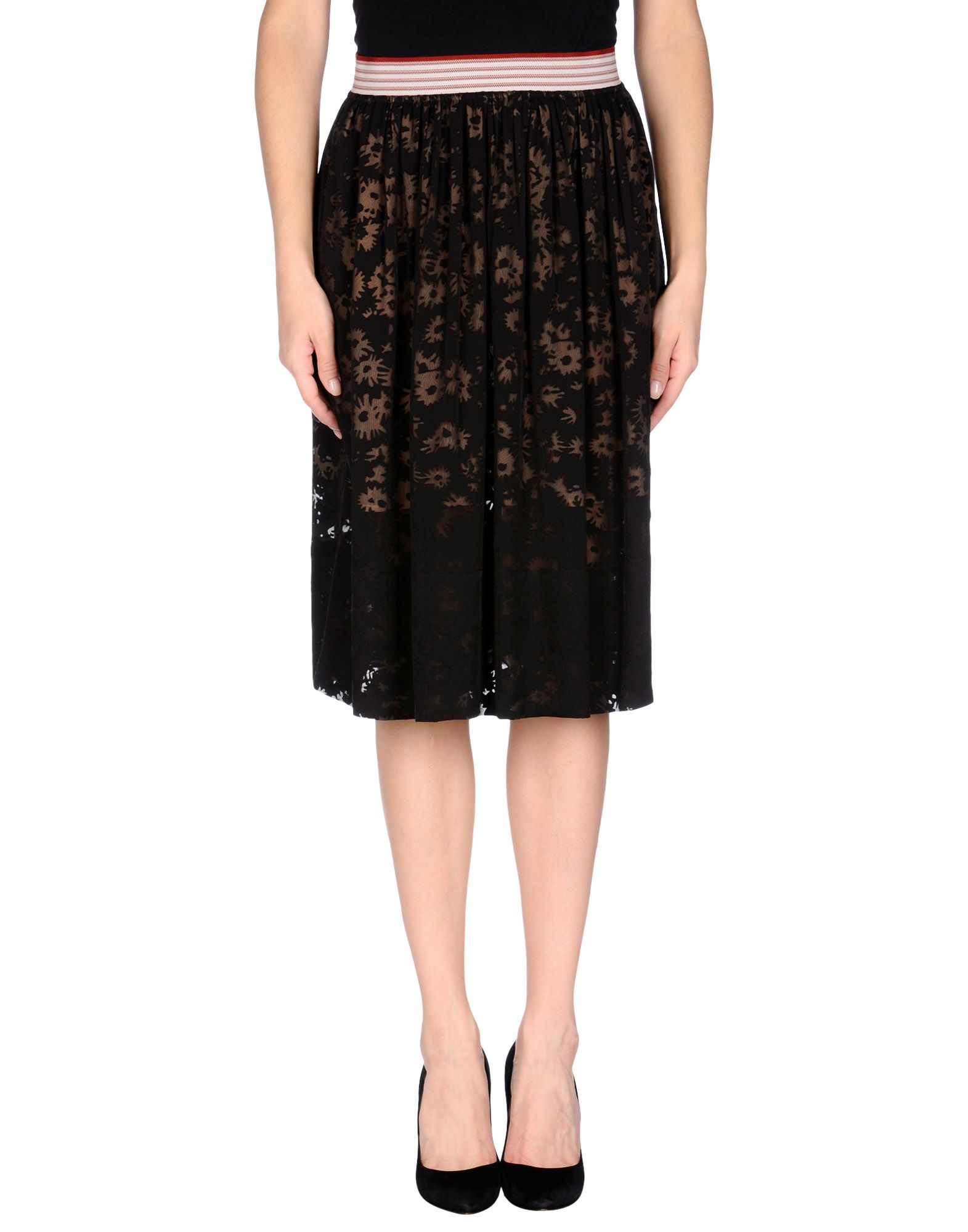 stella mccartney knee length skirt in black lyst