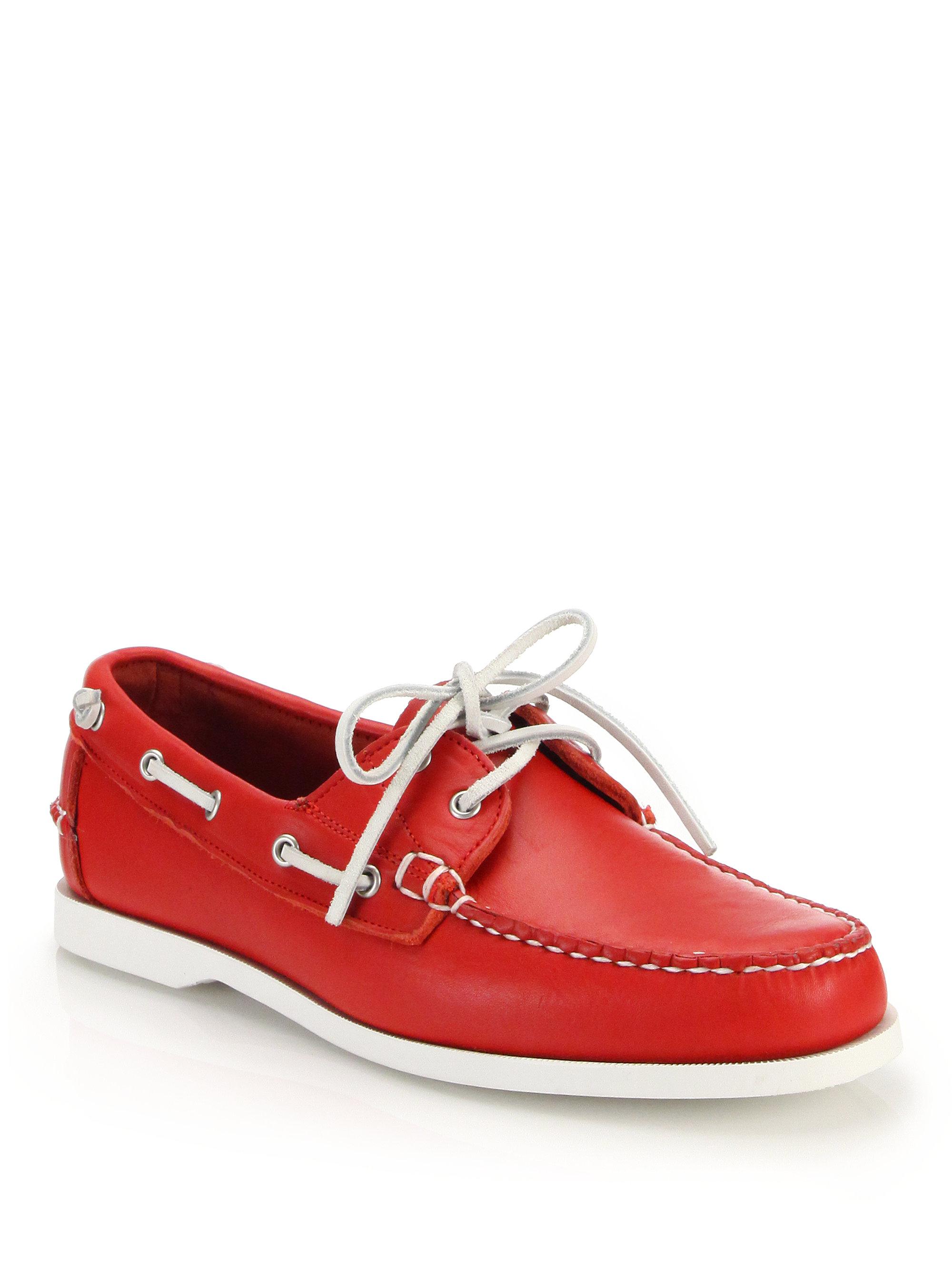 Ralph lauren Telford Leather Boat Shoes in Red for Men | Lyst