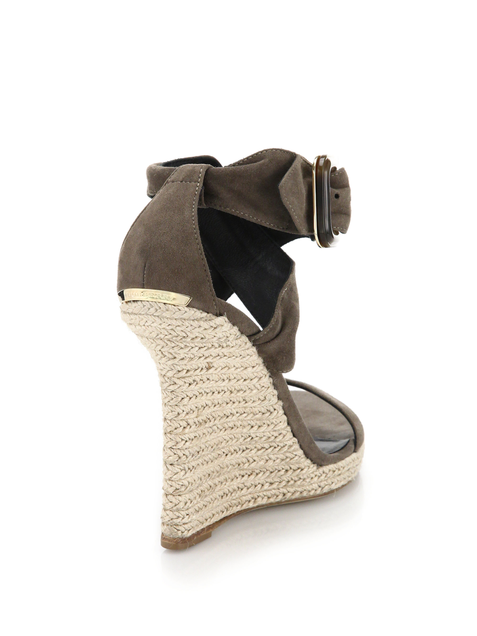 101f22475b9 Lyst - Burberry Catsbrook Suede Espadrille Wedge Sandals in Gray