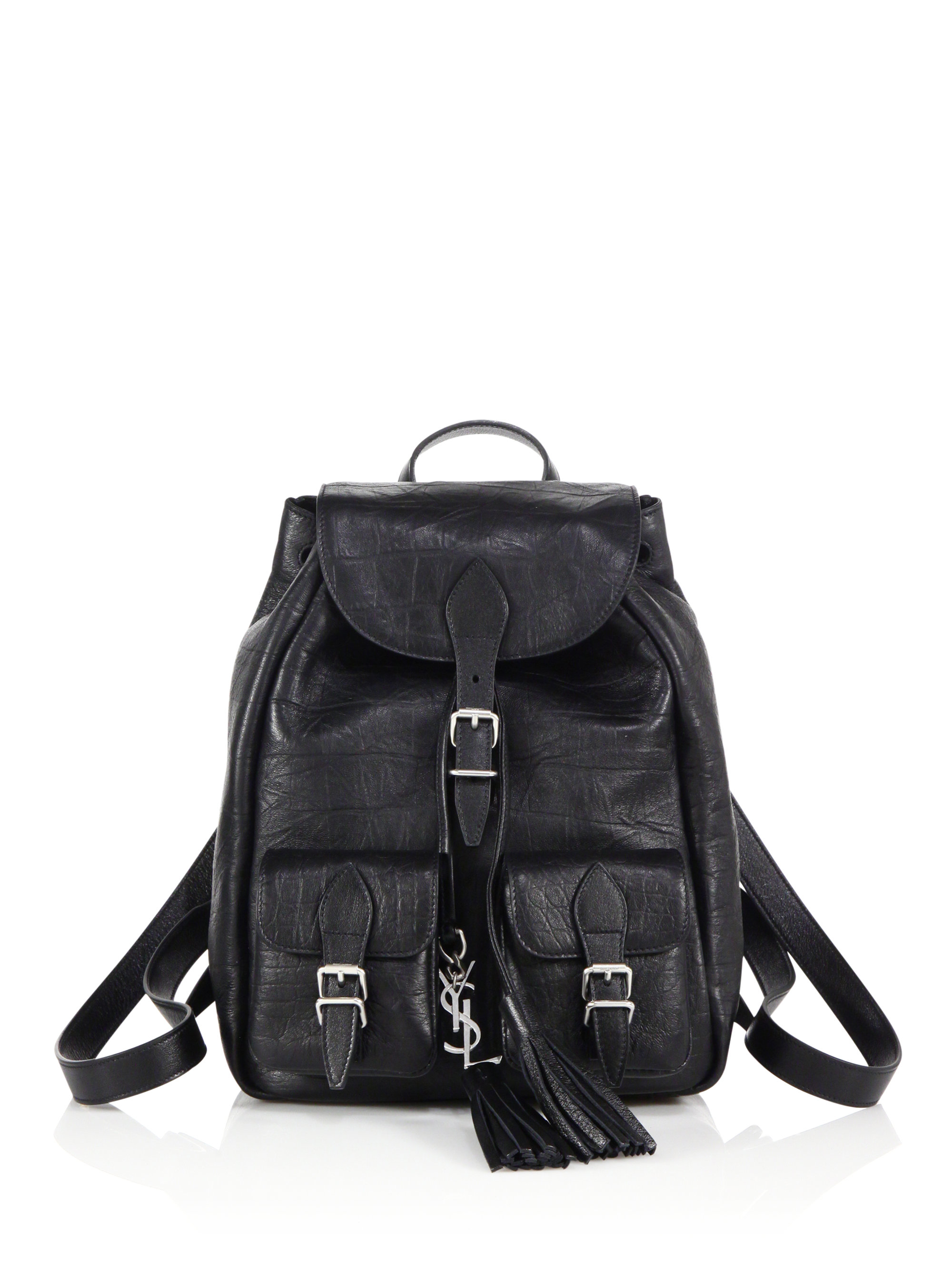 b1f4874ee5c3 Small Festival Backpack In Black Crocodile Embossed Leather