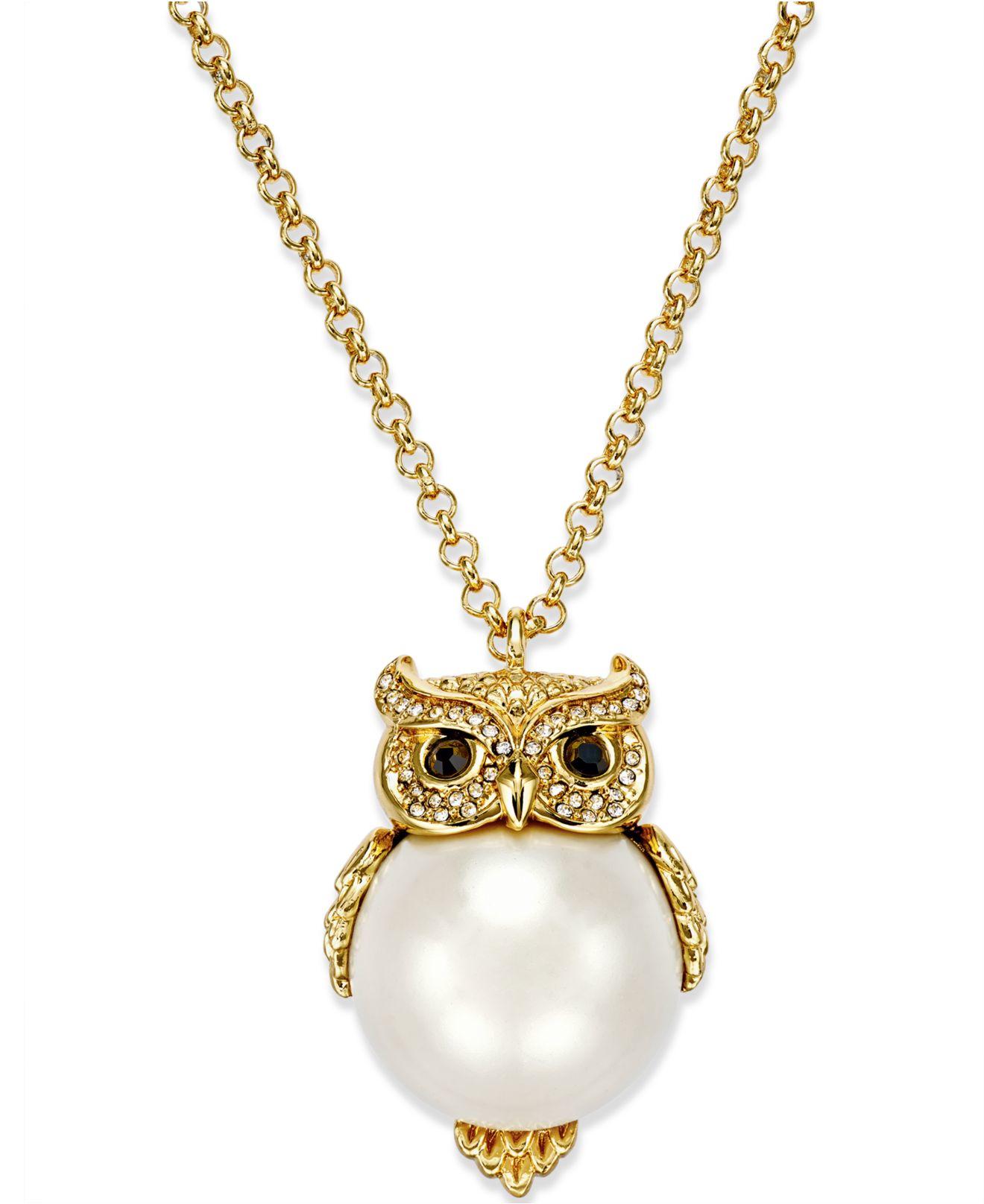 Kate Spade Gold-plated Imitation Pearl Owl Pendant ...
