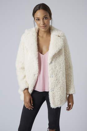 Topshop Petite Faux Fur Teddy Pea Coat in Natural | Lyst