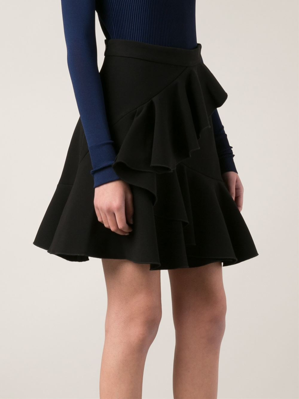 Available In Red And Black High Rise Mini Skirt Ruffle Flounce Detail Full Stretch Elastic Waistband 16