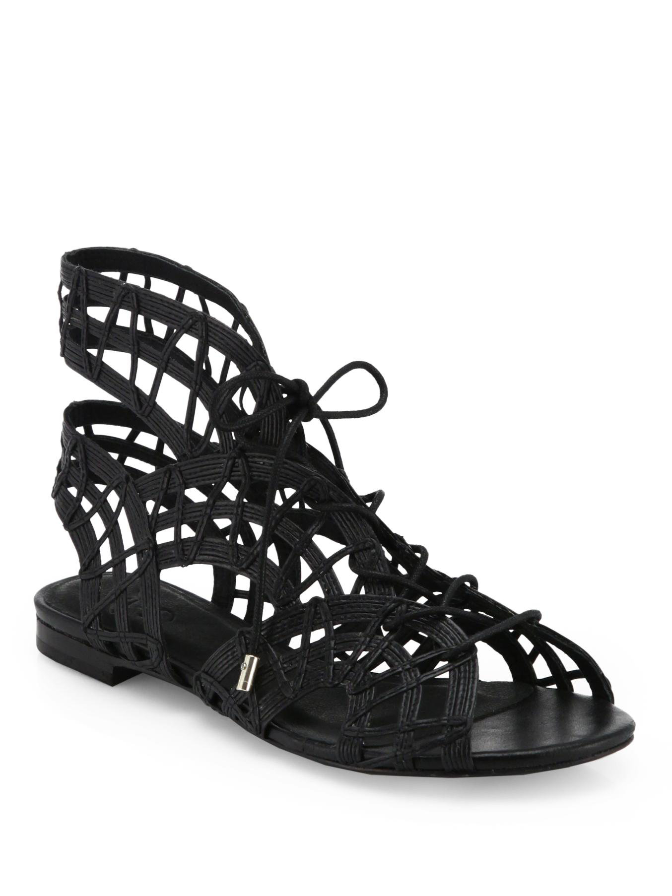 1c971f55cb38 Lyst - Joie Renee Caged Leather Gladiator Sandals in Black