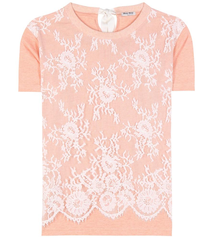 Miu miu lace embellished cotton blend t shirt in orange lyst for Miu miu t shirt