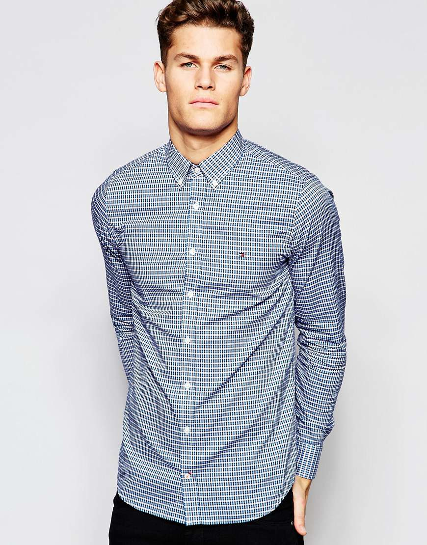 tommy hilfiger small check shirt in navy fitted slim fit. Black Bedroom Furniture Sets. Home Design Ideas
