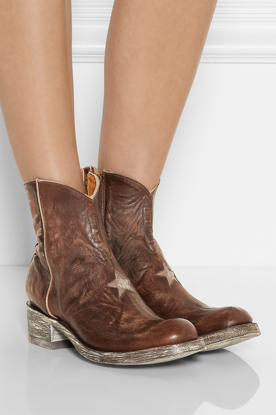 Mexicana Star Distressed Leather Ankle