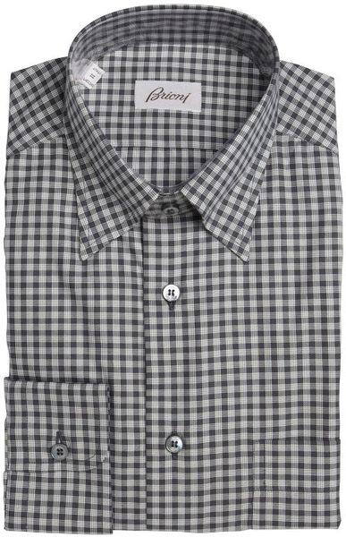 Brioni black gingham cotton hidden button down collar for Hidden button down collar shirts