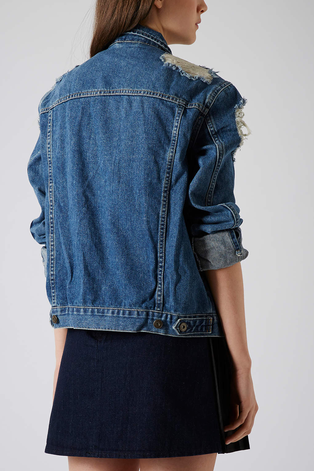 Topshop Moto Ripped Denim Jacket In Mid Stone Blue Lyst