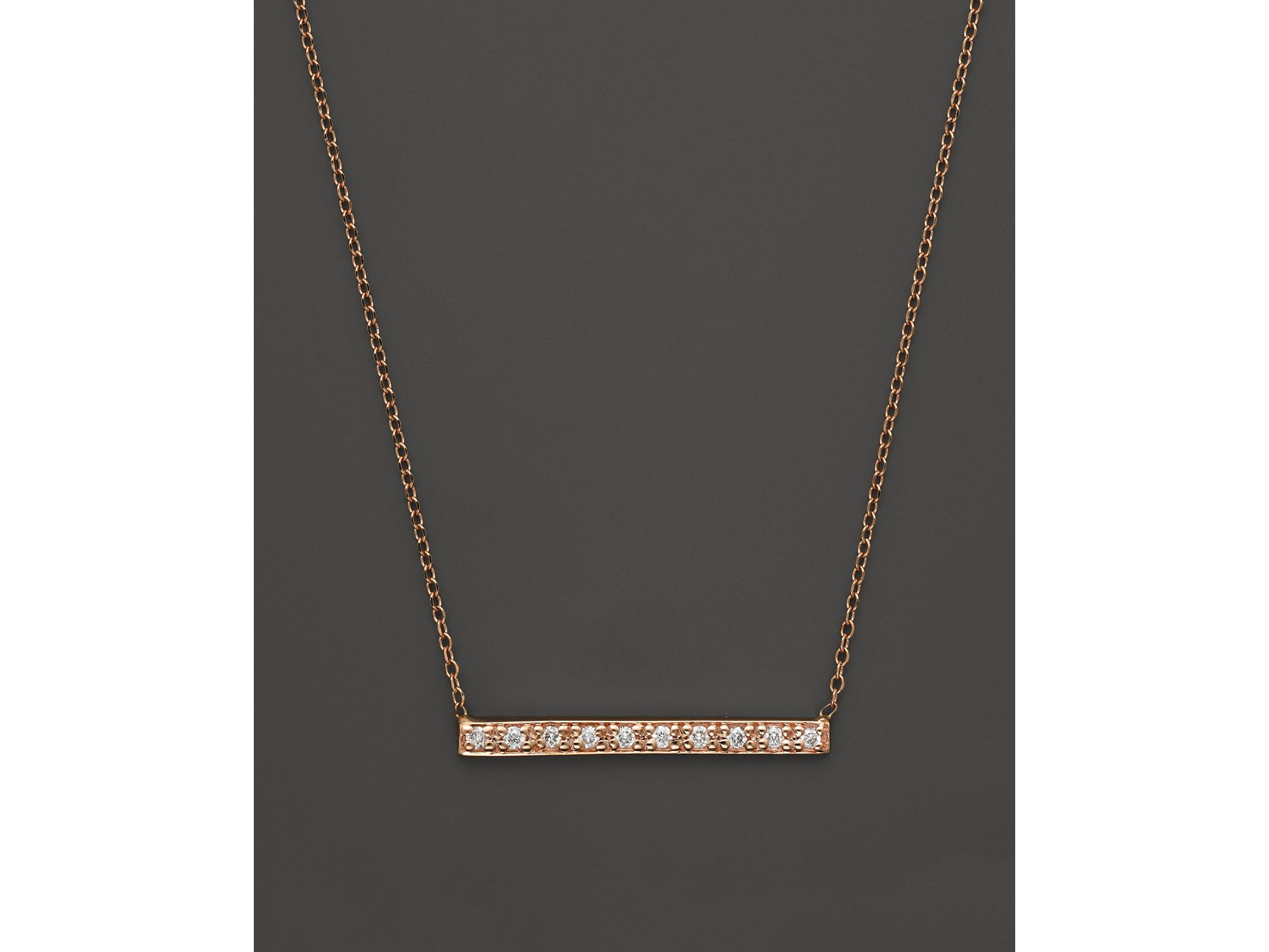 White Gold Bar Necklace With Diamond