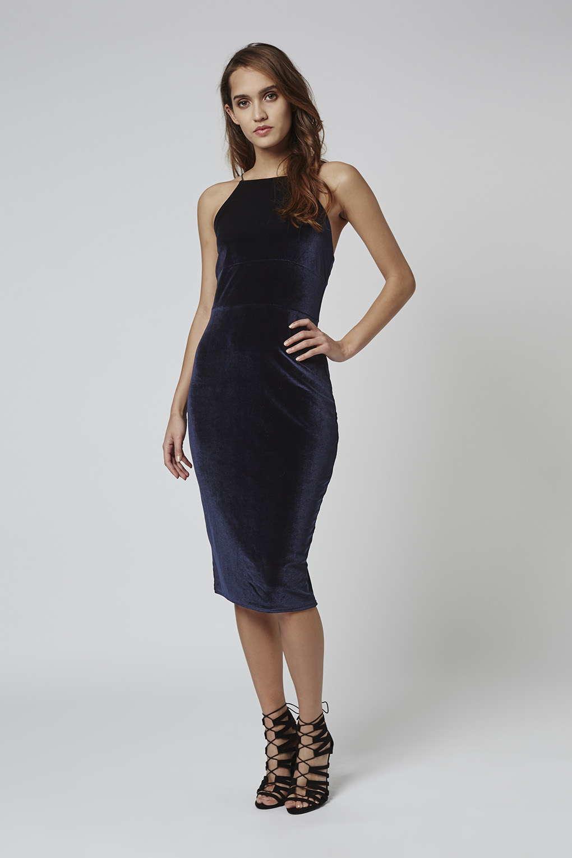 Navy Blue Velvet Midi Dress Db0c74