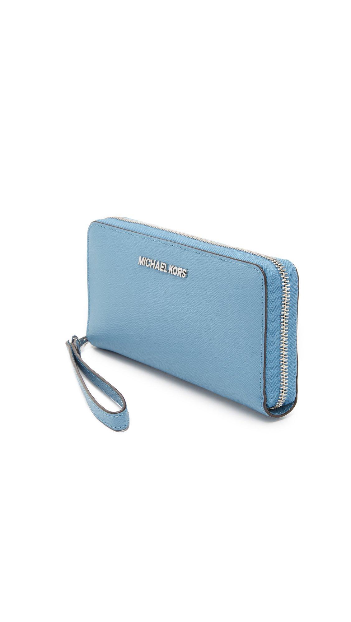4315281afaab MICHAEL Michael Kors Jet Set Travel Continental Wallet in Blue - Lyst
