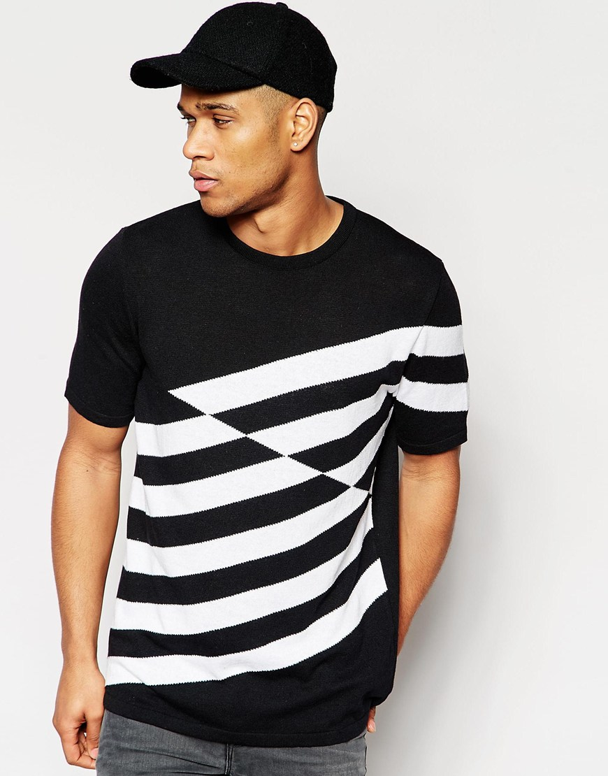 Asos knitted tshirt in boxy fit in black for men for Asos design free t shirt
