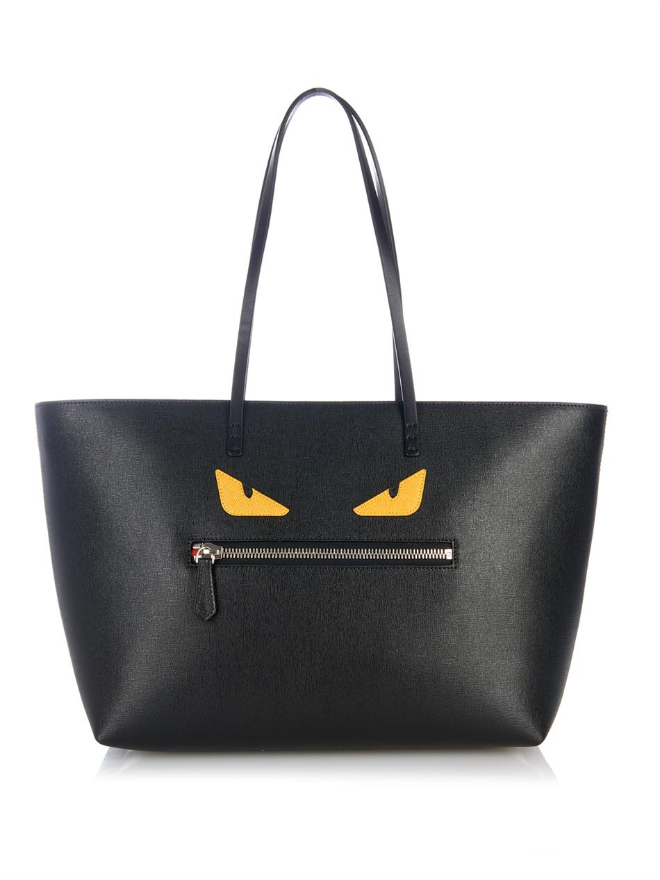 Lyst Fendi Roll Monster Leather Tote In Black
