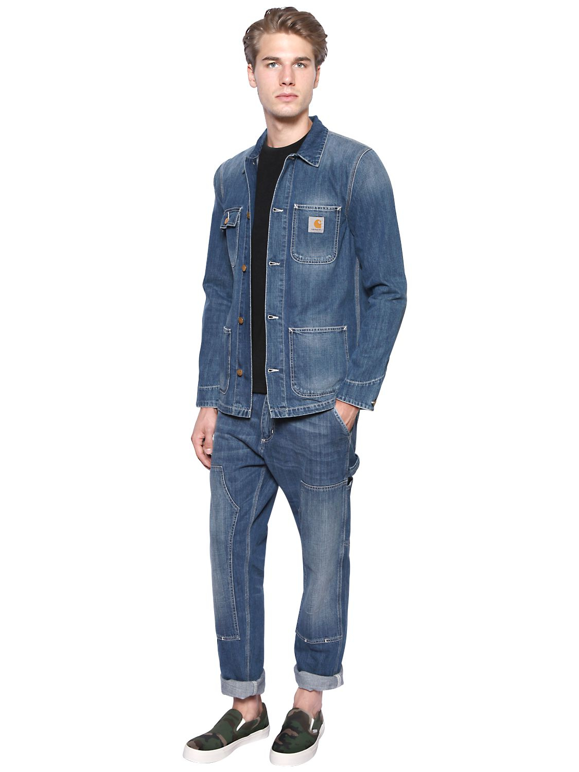 Carhartt Michigan Chore Cotton Denim Jacket In Blue For