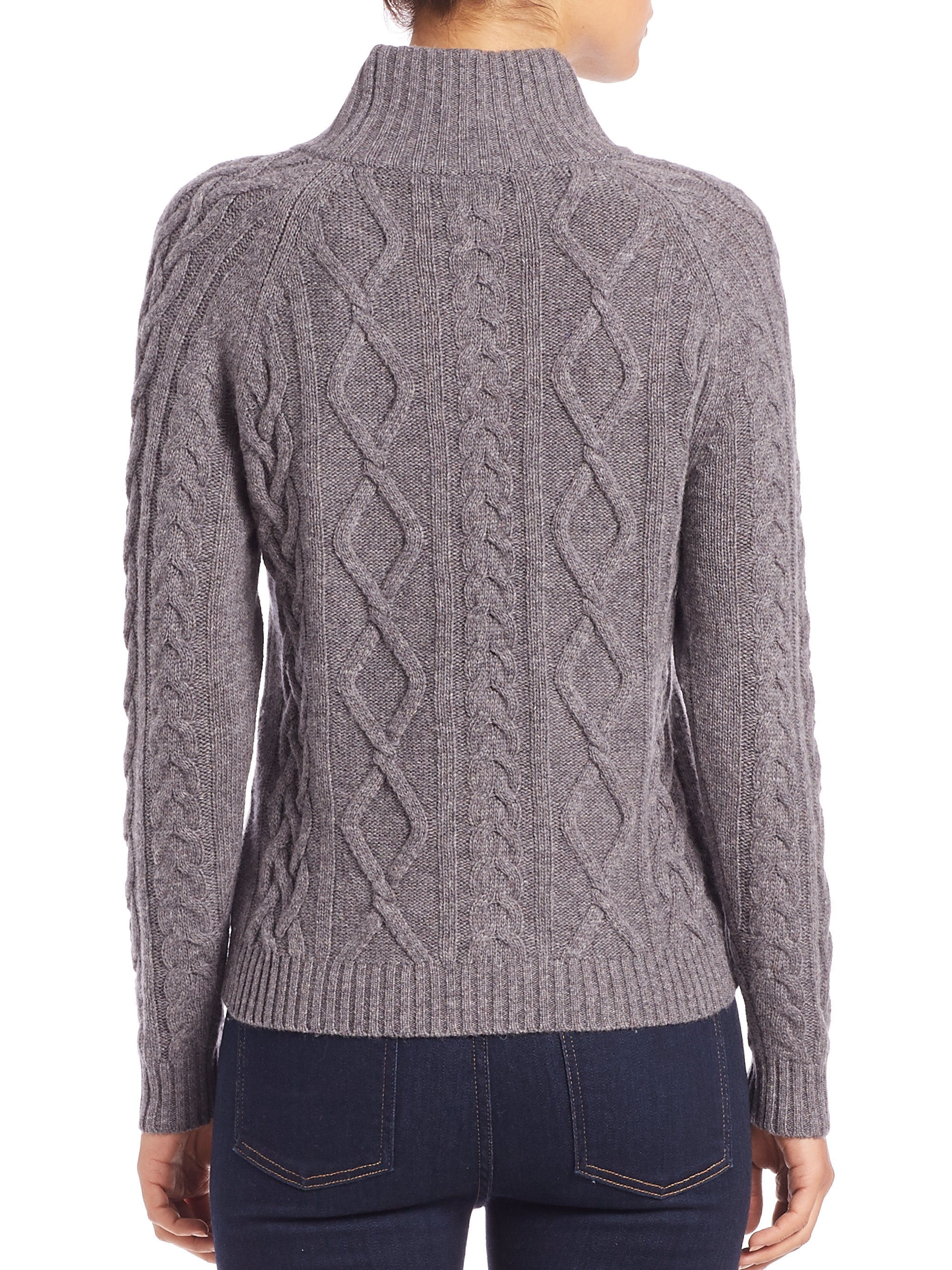 Weekend by maxmara Utopia Cable-knit Turtleneck Sweater in Gray | Lyst