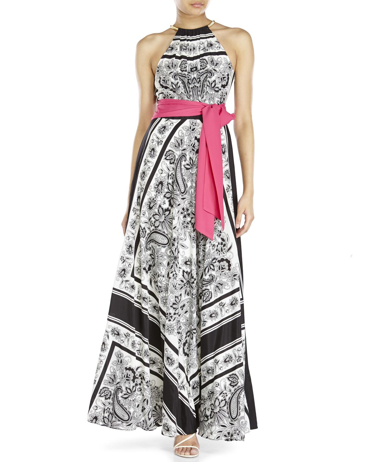 383fc42ce700 Lyst - Eliza J Black   White Floral Belted Maxi Dress in Pink