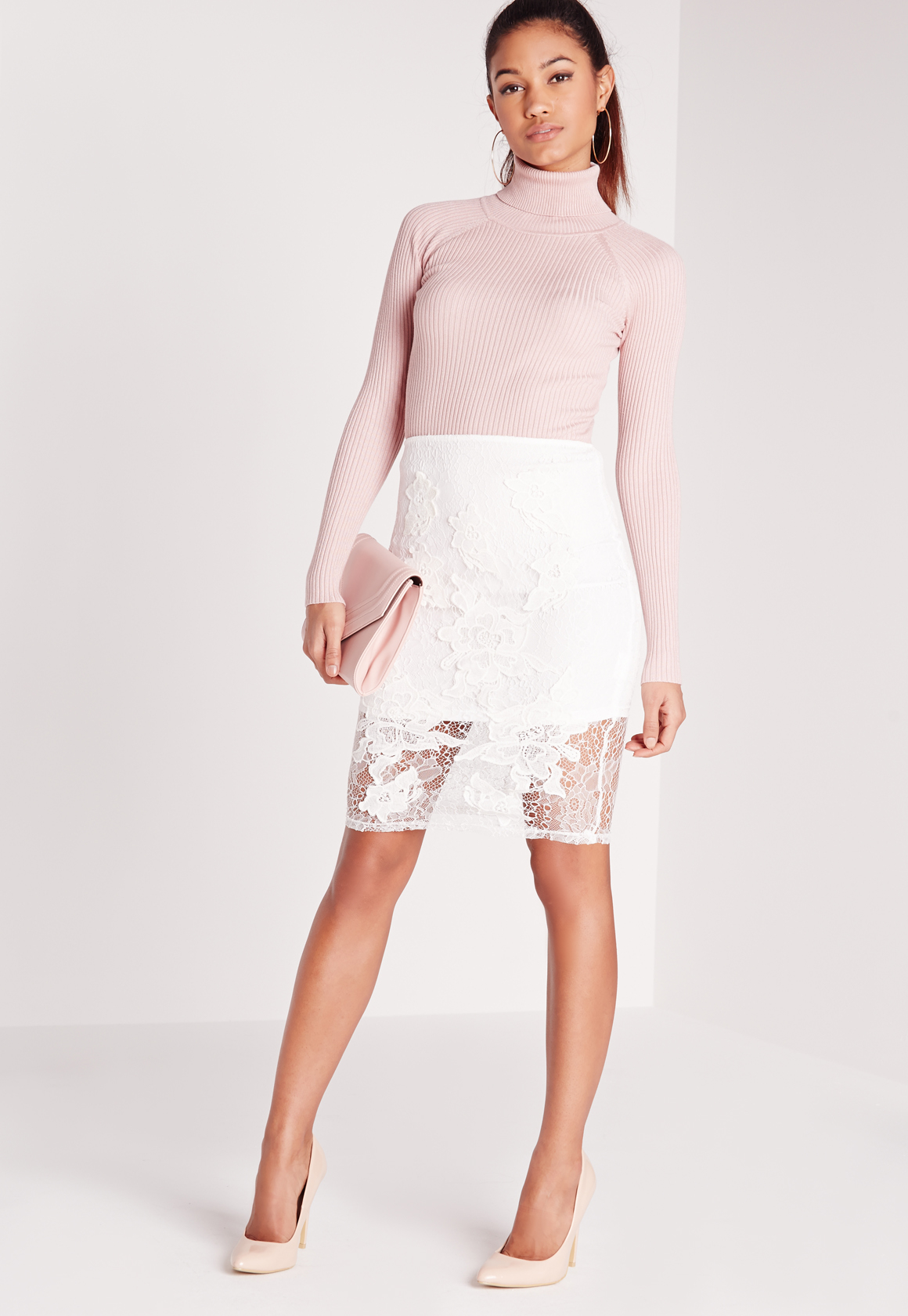 Missguided Lace Floral Midi Skirt White in White | Lyst